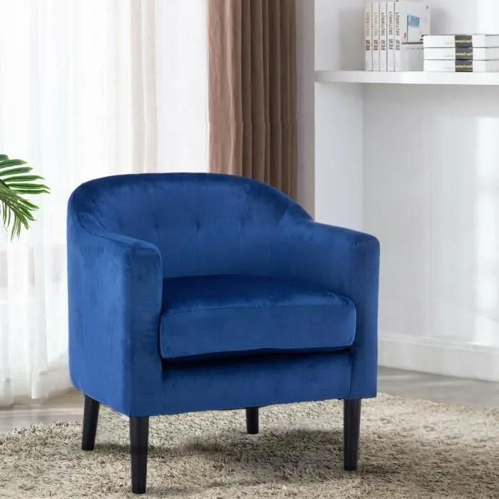 fauteuil scandinave liv en tissu bleu canard