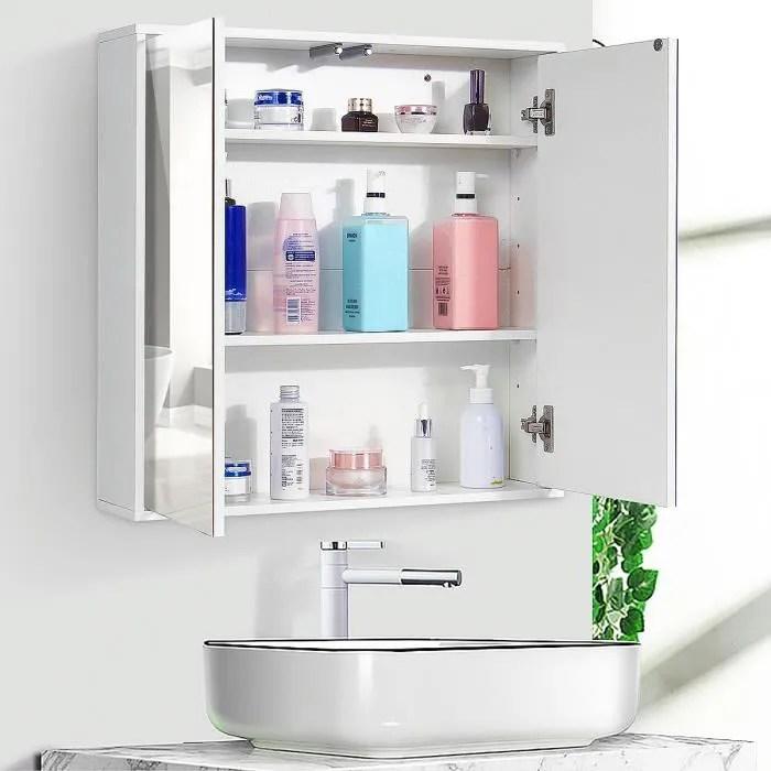 insma meuble salle de bain mural 2 portes magnetique avec mirroir 3 niveaux etageres cabinet rangement armoire de toilette cuisine