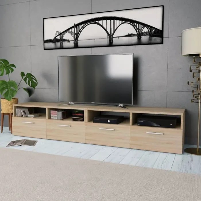 meuble tv buffet bas support tele 2 pcs agglomere