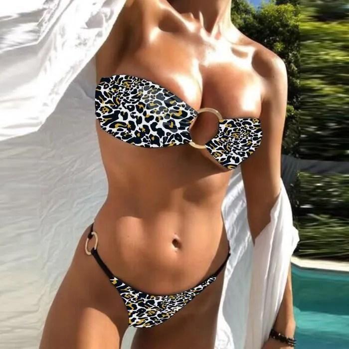 femmes leopard anneau ensemble bikini