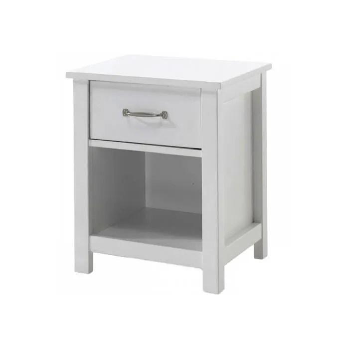 vipack table de chevet 1 tiroir pin massif blanc stella