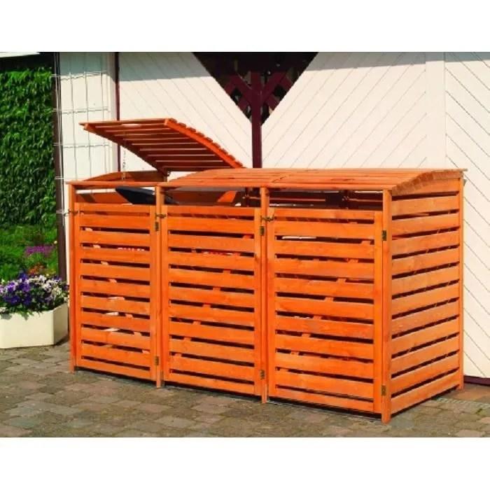 abri poubelle triple en bois