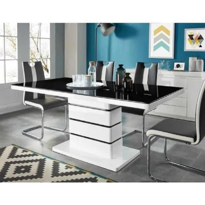 lucia table a manger de 6 a 8 personnes style contemporain laque blanc brillant plateau en verre trempe noir l 180 x l 90 cm
