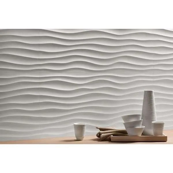 carrelage mural faience 3d dune white
