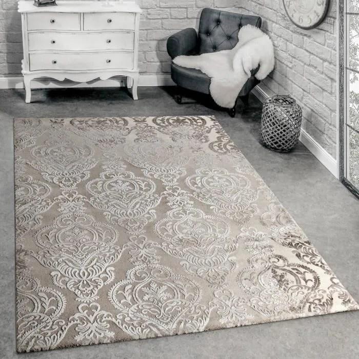 tapis createur moderne motif orient 3d tapis salon beige creme 200x290 cm