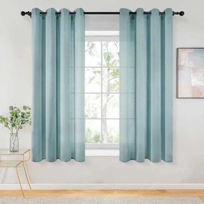 rideaux voilages 140cm x 180cm bleu 2 pannea
