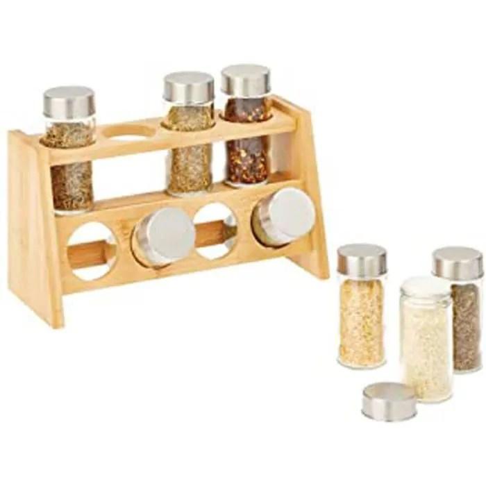 etagere a epices pour le frigo ou le plan de travail porte epices a 2 niveaux avec 8 boites a epices range epice en bois de bamb