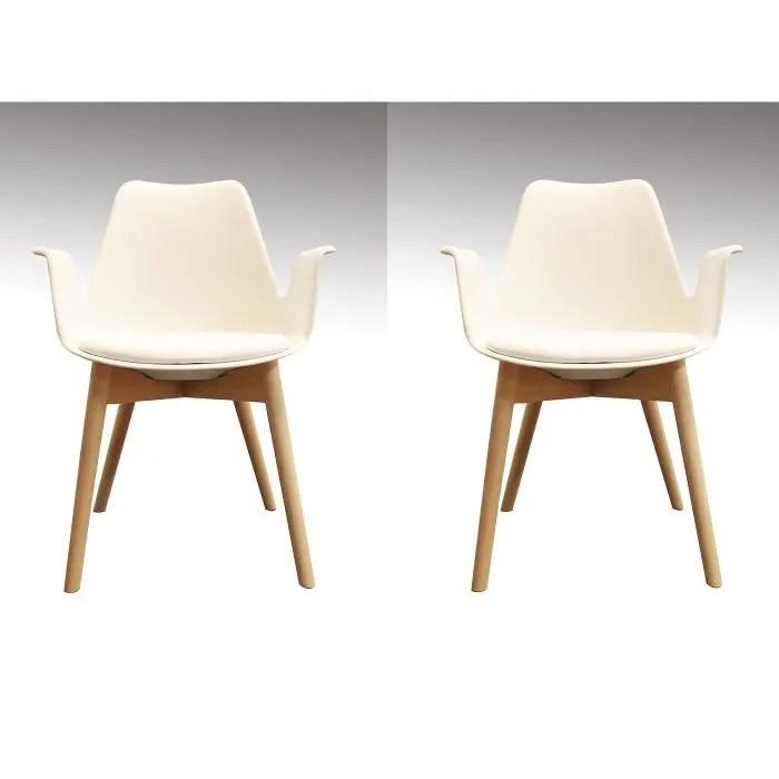 lot de 2 chaises blanches fauteuils