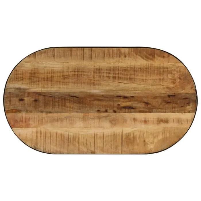gm table basse ovale bois massif de manguier brut et acier 100 cm0f060d01