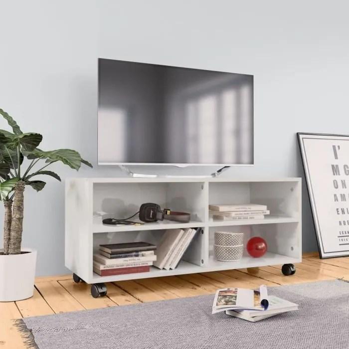 fihero meuble tv avec roulettes blanc brillant 90x