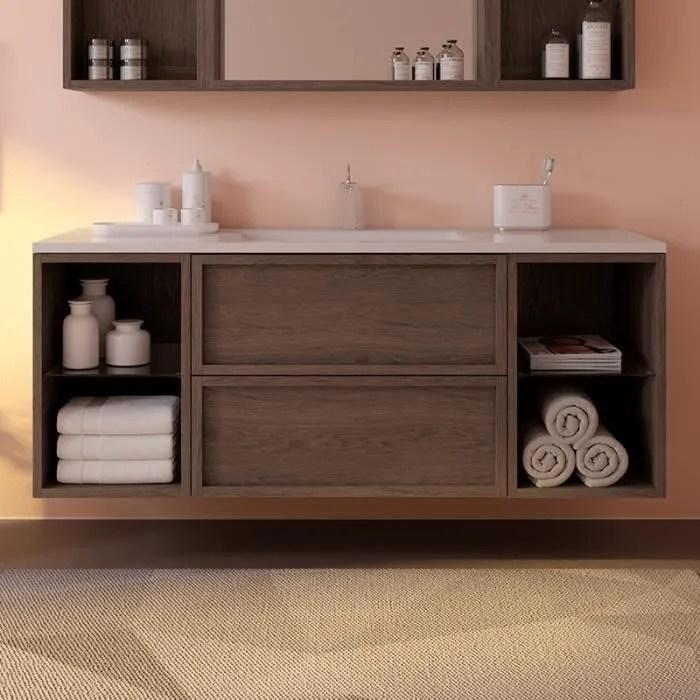 meuble 130 cm lag aspect chene dore avec plan vasq