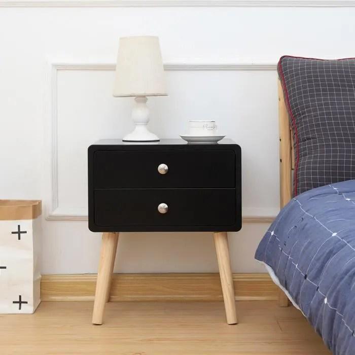 laizere 1pcs table de chevet avec 2 tiroirs noir style nordique