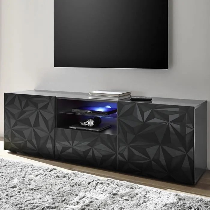 grand meuble tv design gris laque sans eclairage n