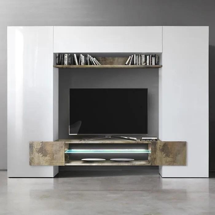 meuble tv mural blanc laque et couleur bois eros 2 sans l 258 x p 36 x h 191 cm blanc
