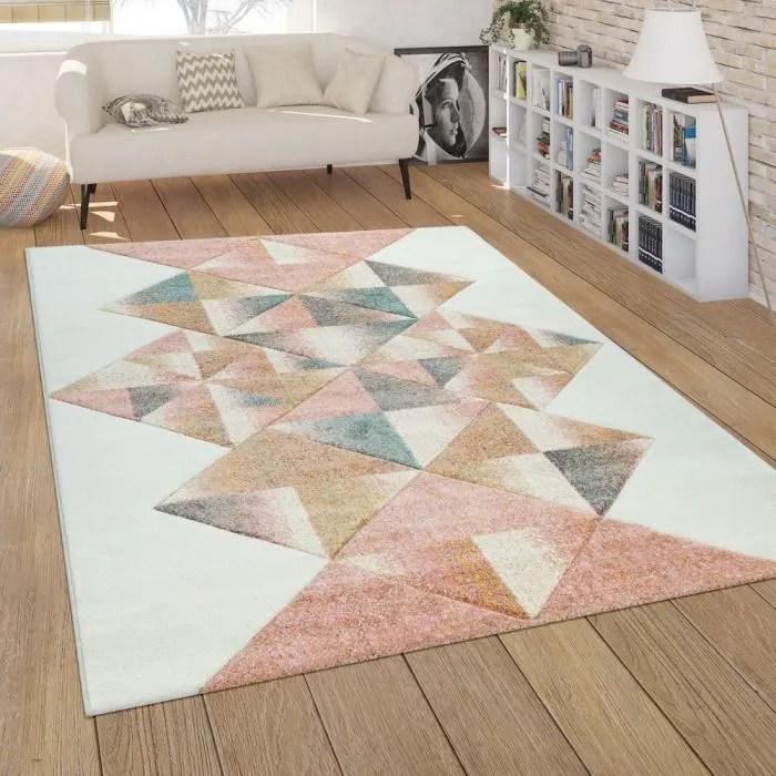 tapis de salon a poils ras colore moderne geometri