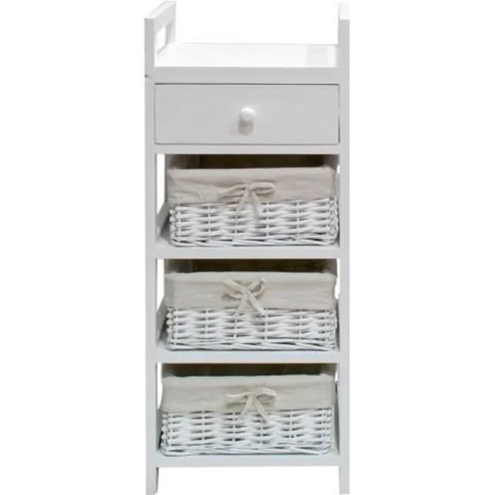 firenza petit meuble de salle de bain l 30 cm laque blanc brillant