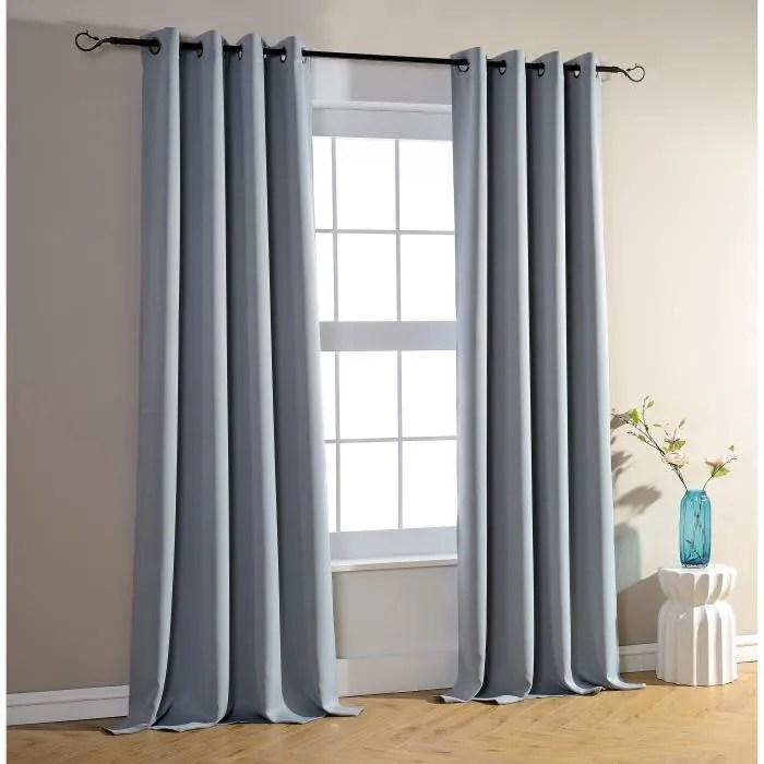 lot de 2 rideaux occultant gris clair 140 x 26