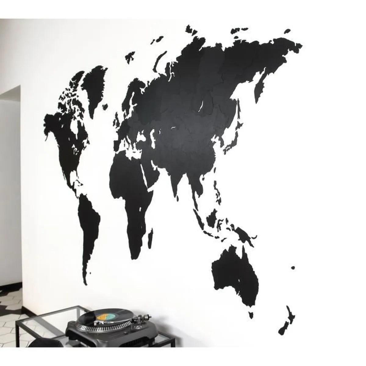 mimi innovations decoration murale geant carte du monde en bois 280x170 cm noir