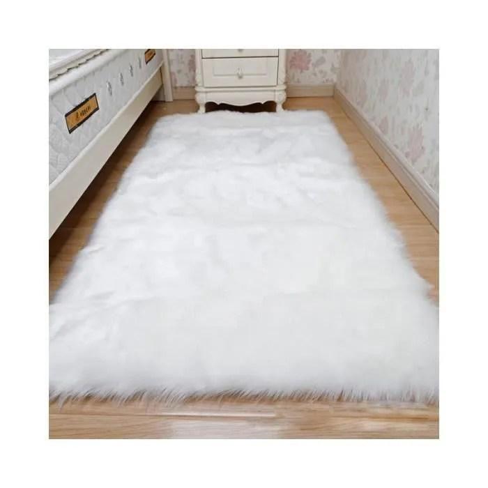 tapis peluche blanc 70x180cm salon sol chambre dec