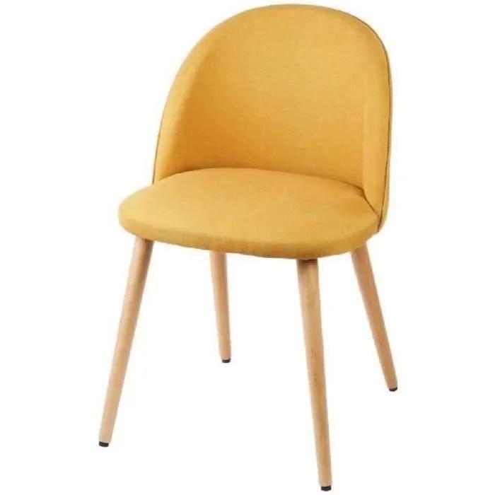 macaron chaise de salle a manger tissu jaune moutarde scandinave l 50 x p 50 cm