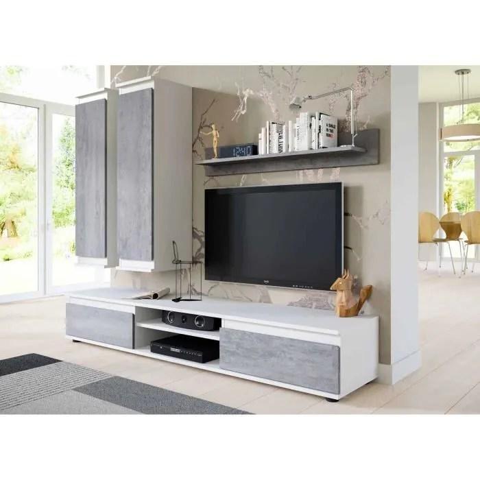 meuble tv et de salon suspendu design blanc et b