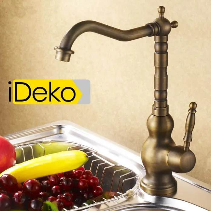 ideko robinet mitigeur cuisine retro cuivre flexible