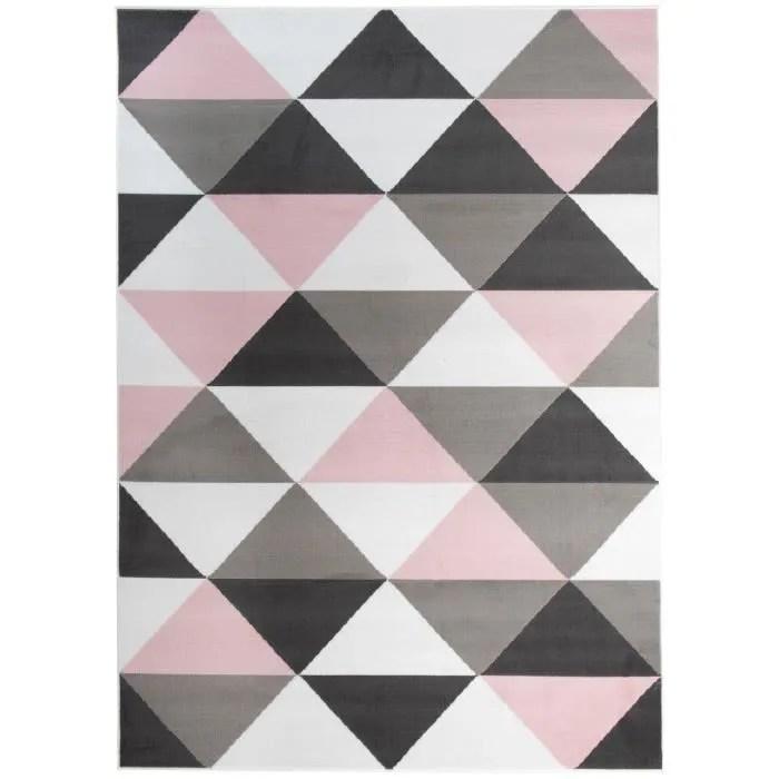 tapiso pinky tapis chambre enfant moderne geometrique triangle rose gris blanc noir fin 200 x 300 cm
