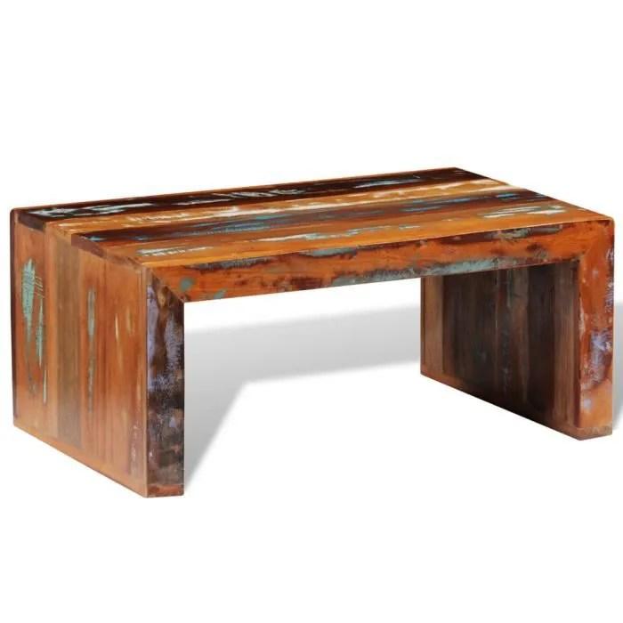 table basse multicolore en bois de recuperation vi