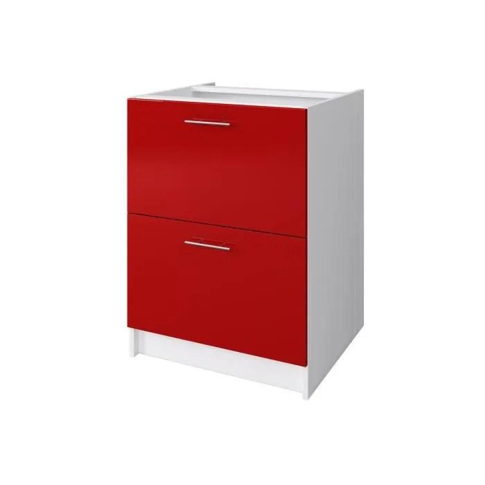 meuble cuisine bas rouge