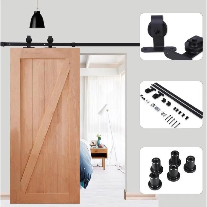 kit de quincaillerie pour portes coulissantes en bois bouchon de rouleau pour eviter un glissement excessif guide de plancher