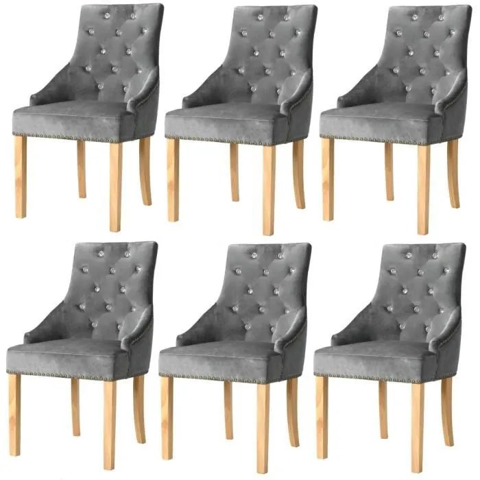 chaise de salle a manger chaises fauteuils de cuisine 6 pcs chene massif et velours 52 x 58 x 96 cm argente