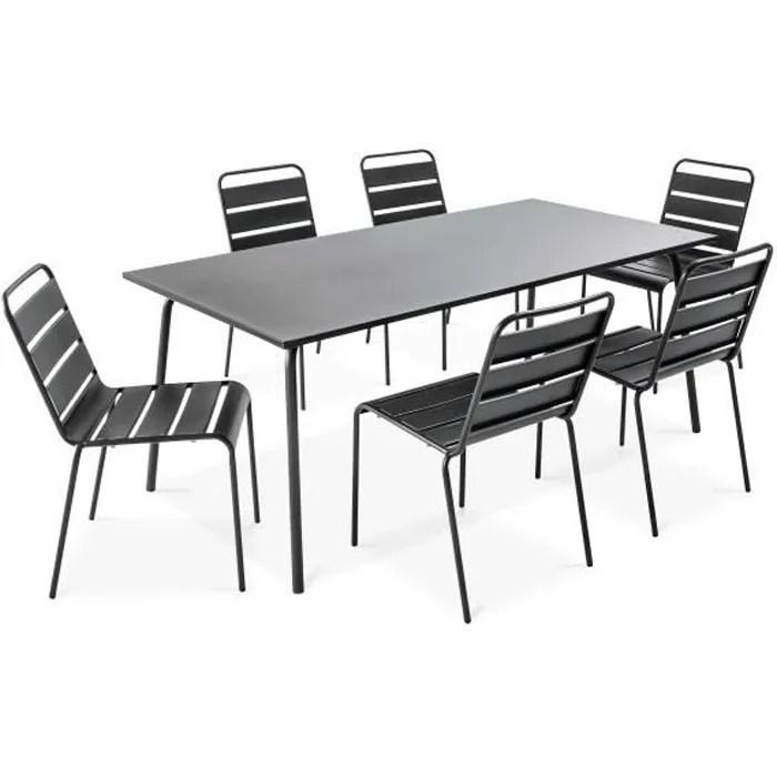 ensemble table de jardin et 6 chaises en metal s