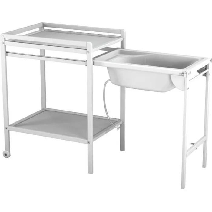 at4 table a langer a roulettes avec baignoire blanc