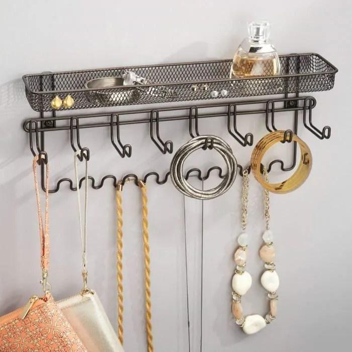 lot de 3 porte bijou porte manteau mural avec tablette pour bracelets boucles d oreille portables d autres accessoires