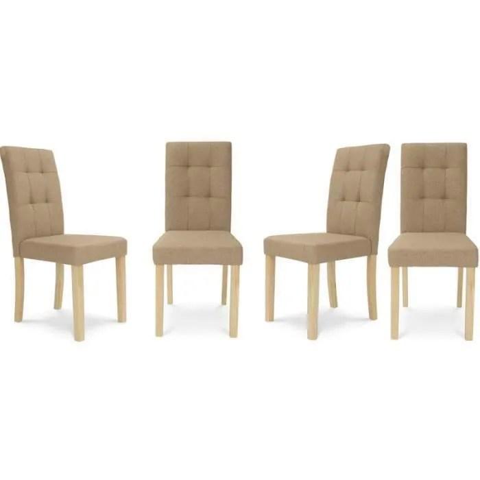 lot de 4 chaises polga capitonnees beiges pour salle a manger