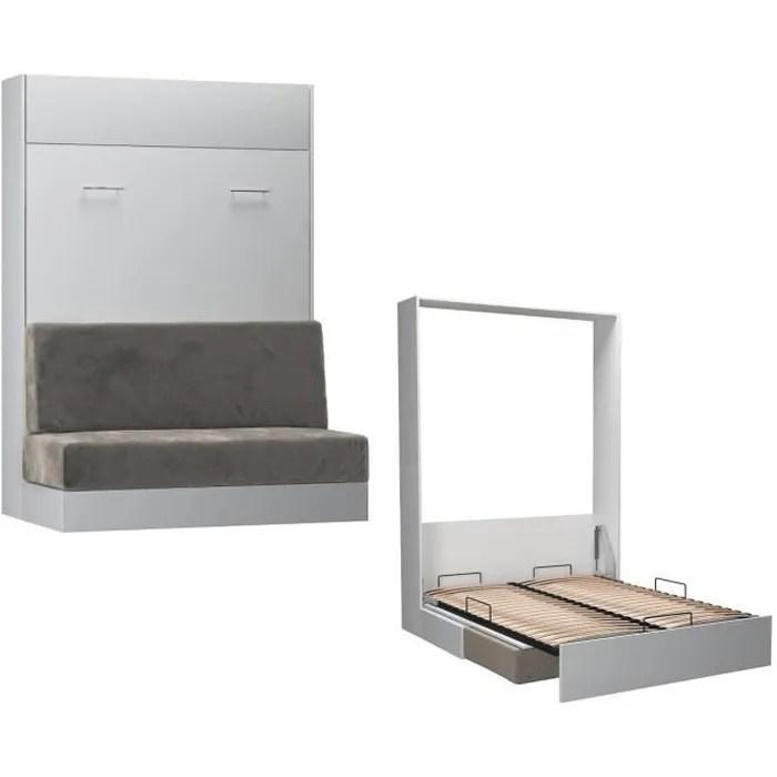 armoire lit escamotable studio sofa blanc mat canape integre microfibre gris couchage 140 200 cm inside75