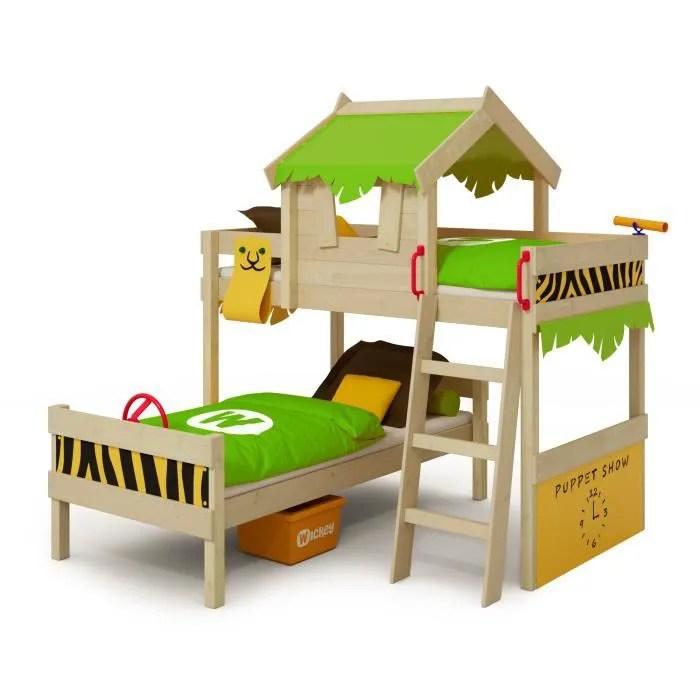 wickey lit enfant lit superpose crazy jungle vert pomme jaune lit en bois 90 x 200 cm