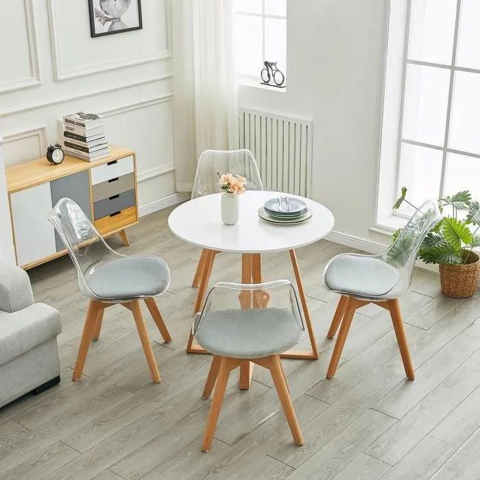 hj table a manger ronde design blanche