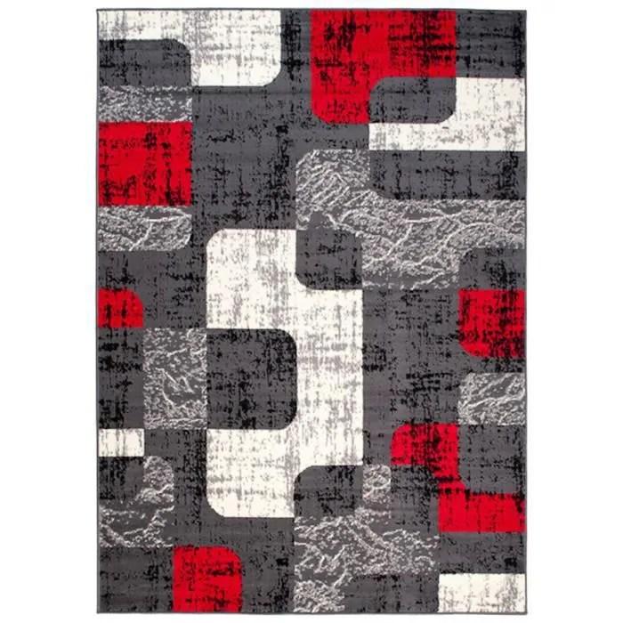 tapiso dream tapis de salon chambre ado design moderne fin gris rouge creme abstrait pierres poil court doux 220 x 300 cm