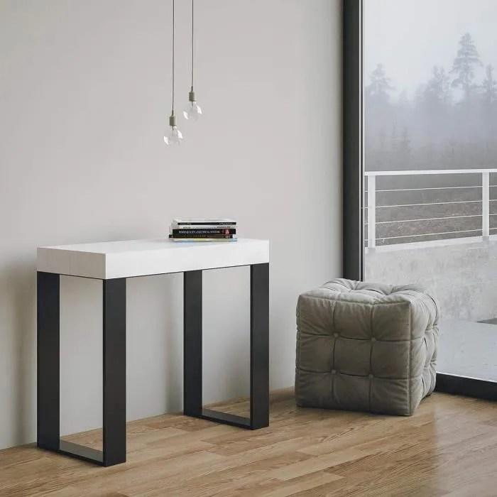 itamoby console extensible en bois et fer h77 x 40 x 90 300 cm tecno blanc frene classique