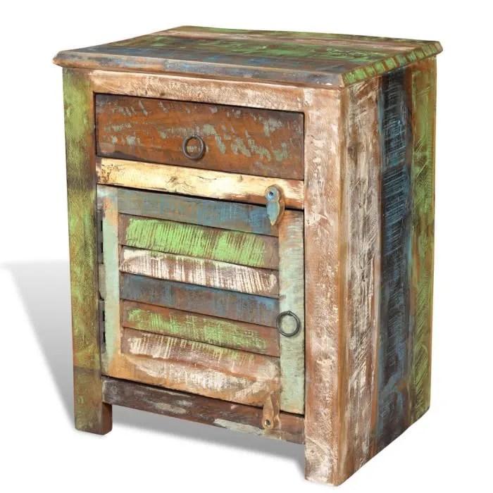 table de chevet vintage multicolore avec 1 tiroir 1 porte en bois massif recupere 45 x 33 x 55 cm