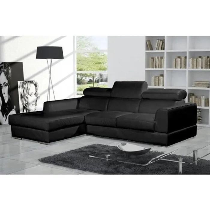 canape d angle moderne neto noir cuir pas cher
