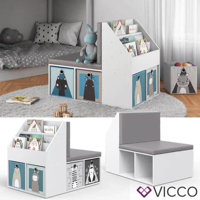 etagere pour enfant vicco onix avec banc 6 boites pliables banc pour enfant etagere de chambre d enfant