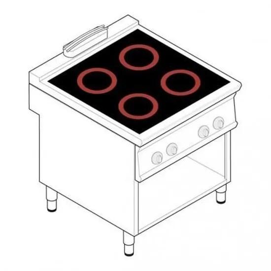 piano de cuisson electrique 4 plaques vitroceramiques 3 4 kw gamme 900 tecnoinox