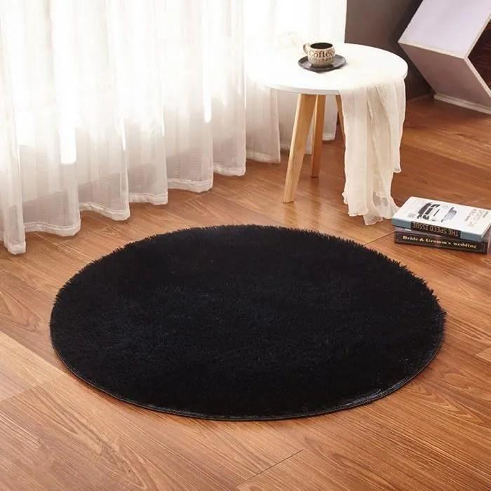 tapis rond tapis salon chambre f120 noir grand tap
