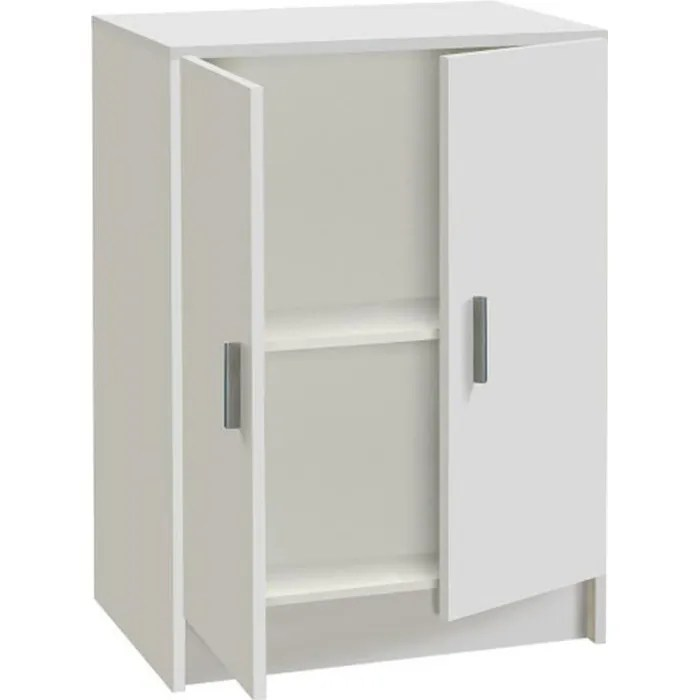armoire basse en bois de 2 portes blanc dim h