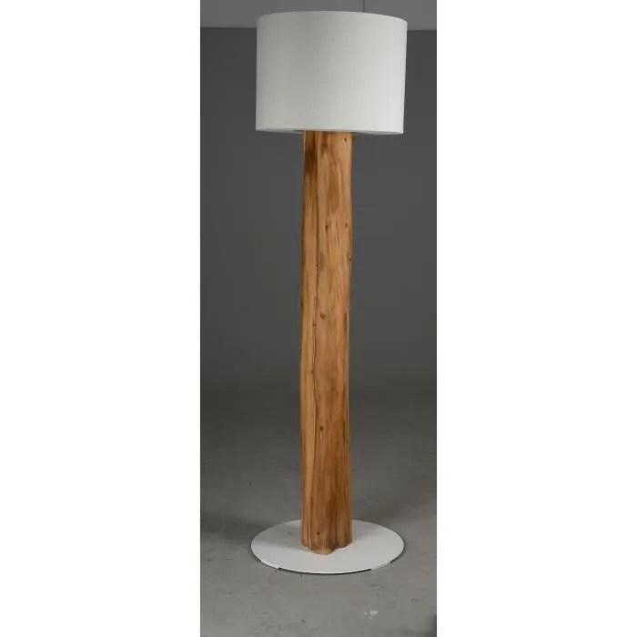 lampadaire de salon sur pied en bois et metal blanc