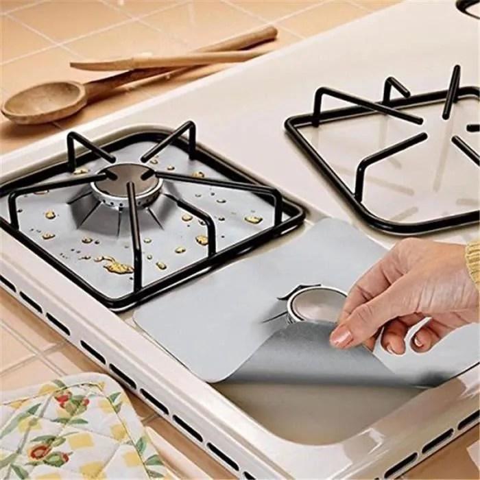 4pcs feuilles de protection pour gaziniere plaque de cuisson a gaz universel protection d ecran at22150