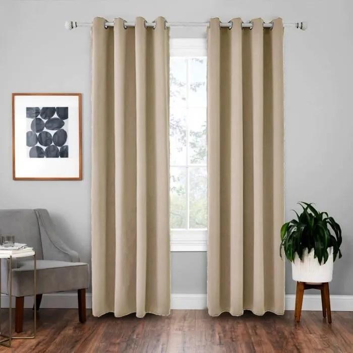 doubles rideaux occultants isolant thermique beige 135x220cm rideaux salon a œillets pour chambre effet soie de luxe