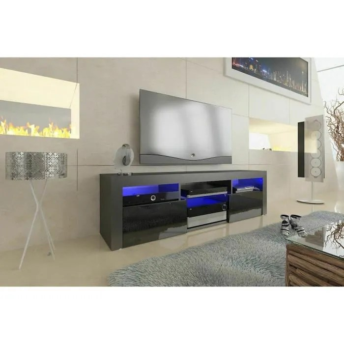 led meuble tv 160 cm 2 portes 2 tiroirs